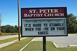 Church sign on the side of a road in Williston, SC