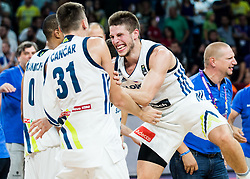 Vlatko Cancar of Slovenia and Aleksej Nikolic of Slovenia celebrating at Trophy ceremony after winning during the Final basketball match between National Teams  Slovenia and Serbia at Day 18 of the FIBA EuroBasket 2017 when Slovenia became European Champions 2017, at Sinan Erdem Dome in Istanbul, Turkey on September 17, 2017. Photo by Vid Ponikvar / Sportida