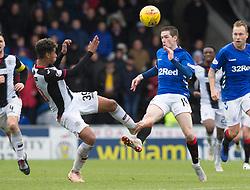 St Mirren's Ethan Erhahon challenges Rangers' Ryan Kent (right) during the Ladbrokes Scottish Premier League match at St Mirren Park, St Mirren.