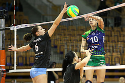 Anna Kaczmar of PGE Atom Trefl Sopot and Petra Vrhovnik of Calcit Ljubljana during the volleyball match between Calcit Ljubljana and  PGE Atom Trefl Sopot at 2016 CEV Volleyball Champions League, Women, League Round in Pool B, 1st Leg, on October 29, 2016, in Hala Tivoli, Ljubljana, Slovenia.  (Photo by Matic Klansek Velej / Sportida)