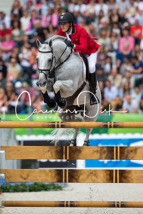Olivier Philippaerts, (BEL), Cabrio vd Heffinck - Team & Individual Competition Jumping Speed - Alltech FEI World Equestrian Games™ 2014 - Normandy, France.<br /> © Hippo Foto Team - Leanjo De Koster<br /> 02-09-14