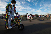 "Members of ""The World Famous Wheelie-ing Elvi"" perform during the fifth-annual Oak Cliff Mardi Gras Parade on Sunday, February 10, 2013 in Dallas, Texas. (Cooper Neill/The Dallas Morning News)"