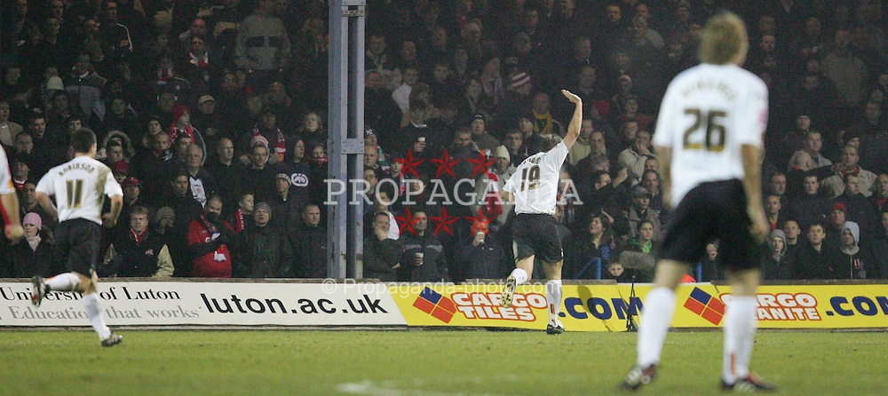 LUTON, ENGLAND - SATURDAY, JANUARY 7th, 2006:  Luton Town's Steve Howard celebrates scoring the opening goal against Liverpool during the FA Cup 3rd Round match at Kenilworth Road. (Pic by David Rawcliffe/Propaganda)
