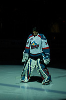 KELOWNA, BC - JANUARY 26:  Roman Basran #30 of the Kelowna Rockets  lines up at the start of the game against the Vancouver Giants at Prospera Place on January 26, 2019 in Kelowna, Canada. (Photo by Marissa Baecker/Getty Images)