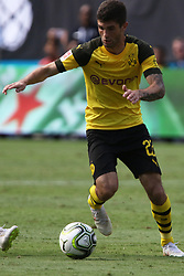 July 22, 2018 - Charlotte, NC, U.S. - CHARLOTTE, NC - JULY 22: Christian Pulisic (22) of Borussia with the ball during the International Champions Cup soccer match between Liverpool FC and Borussia Dortmund in Charlotte, N.C. on July 22, 2018. (Photo by John Byrum/Icon Sportswire) (Credit Image: © John Byrum/Icon SMI via ZUMA Press)