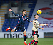 2nd December 2017, Global Energy Stadium, Dingwall, Scotland; Scottish Premiership football, Ross County versus Dundee; Dundee's Josh Meekings and Ross County's Alex Schalk compete in the air