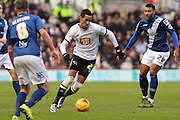 Derby County midfielder Tom Ince on the attack during the Sky Bet Championship match between Derby County and Birmingham City at the iPro Stadium, Derby, England on 16 January 2016. Photo by Aaron Lupton.