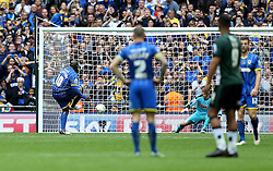 Adebayo Akinfenwa of AFC Wimbledon scores a goal from the penalty spot - Mandatory by-line: Robbie Stephenson/JMP - 30/05/2016 - FOOTBALL - Wembley Stadium - London, England - AFC Wimbledon v Plymouth Argyle - Sky Bet League Two Play-off Final