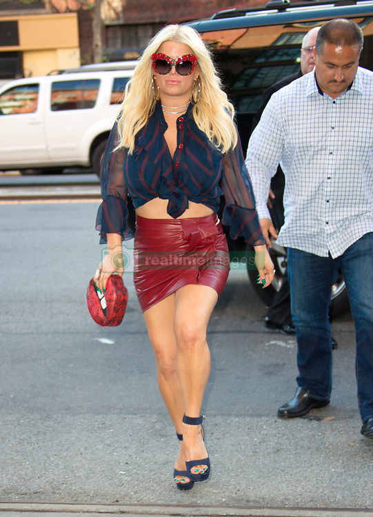 Jessica Simpson out and about in a hot red leather skirt in New York. 08 Aug 2017 Pictured: Jessica Simpson. Photo credit: FZS / MEGA TheMegaAgency.com +1 888 505 6342