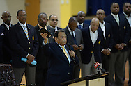 Atlanta - August 7, 2013: Former Atlanta Mayor and United Nations Ambassador  Andrew Young speaks to the young men on the first day of school at B.E.S.T Academy (Business Engineering Science Technology) on Wednesday, August 7 ,2013.  Over 80 members of the 100 Black Men of Atlanta greeted the boys and their parents as they arrived at school.  The boys were inspired by Young to become leaders in their community.  Young spoke to boys in  middle l and high School.  The school is an all male school.  Today was the first day of school for students in Atlanta and Cobb County. ©Johnny Crawford/ The Image Works
