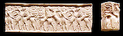 Cylinder seal with impressions, from Mesopotamia. seal made from marble depicting a hero in battle with animals. Early Dynastic Period, 2500-2350 BC.
