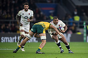 Twickenham, United Kingdom, Saturday, 24th  November 2018, RFU, Rugby, Stadium, England, Australian Secord row forward, Adam Coleman, set himself for his tackle on The ball carrying, Kyle SINCKLER, during the Quilter Autumn International, England vs Australia, © Peter Spurrier , [Mandatory Credit: Peter Spurrier/Intersport Images],