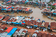 Aerial view of the floating village of Kampong Phluk, south of Siem Reap, Cambodia.