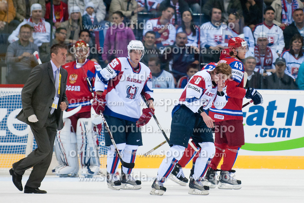 Ziga Jeglic of Slovenia injured with a broken nose during ice-hockey match between Russia and Slovenia of Group A of IIHF 2011 World Championship Slovakia, on May 1, 2011 in Orange Arena, Bratislava, Slovakia. (Photo by Matic Klansek Velej / Sportida)
