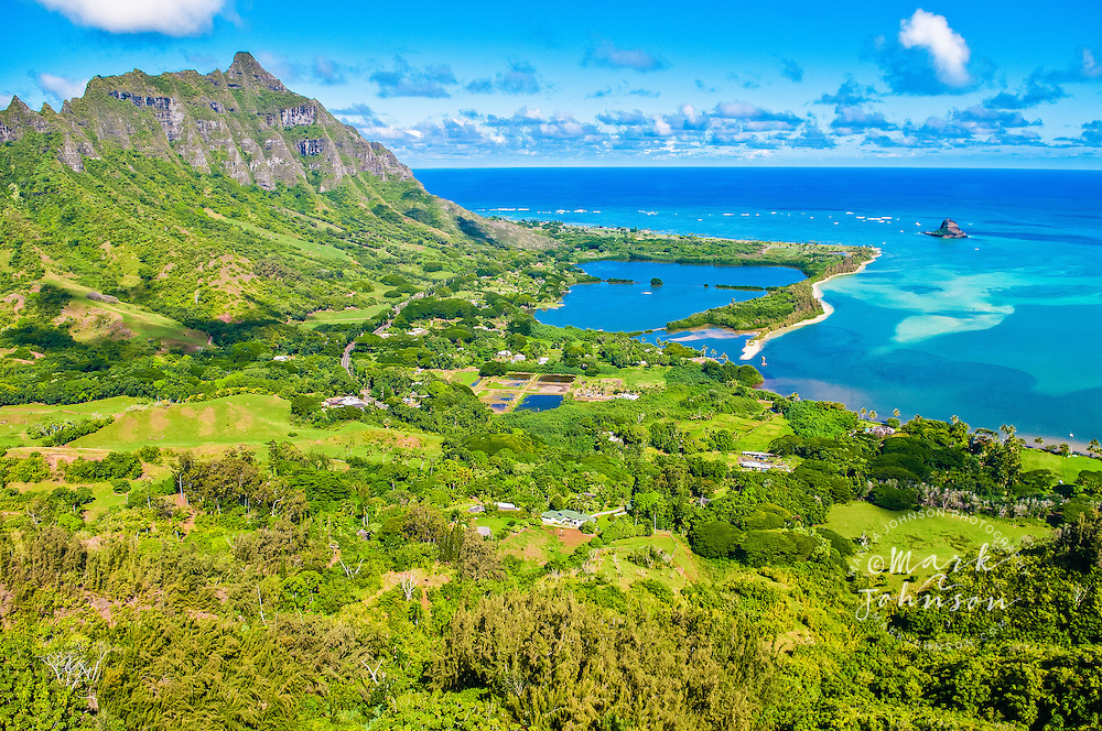 View of Kualoa, Kaneohe Bay, Oahu, Hawaii