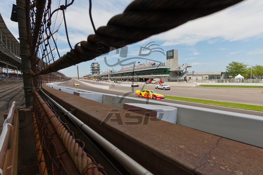 INDIANPOLIS, IN - JUL 29, 2012:  A.J. Almendinger (22) brings his car through the turns during the Curtiss Shaver 400 presented by Crown Royal Sprint Cup Series race at the Indianapolis Motor Speedway in Indianapolis, IN.