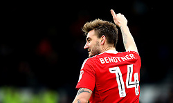 Nicklas Bendtner of Nottingham Forest gives a thumbs up - Mandatory by-line: Robbie Stephenson/JMP - 11/12/2016 - FOOTBALL - iPro Stadium - Derby, England - Derby County v Nottingham Forest - Sky Bet Championship