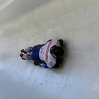 28 February 2007:  Gregory Saint-Genies of France in turn 14 the 4th run at the Men's Skeleton World Championships competition on February 28 at the Olympic Sports Complex in Lake Placid, NY.