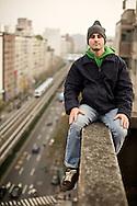Sitting on a ledge in Taipei, Taiwan.