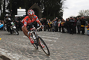 France, Gruson, Sunday 11th April 2010: Fabian Cancellara (Swi) takes a right hand corner in Gruson during the 108th edition of the Paris Roubaix cycle race. 2010 Peter Horrell