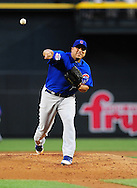 Apr. 29 2011; Phoenix, AZ, USA; Chicago Cubs starting pitcher Carlos Zambrano pitches during the first inning against the Arizona Diamondbacks at Chase Field. Mandatory Credit: Jennifer Stewart-US PRESSWIRE..