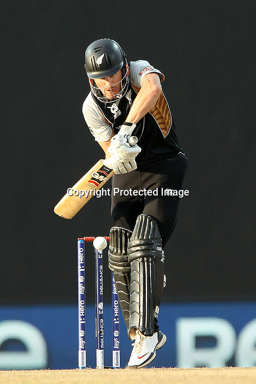 Rob Nicol opens the batting for New Zealand during the ICC World Twenty20 Super Eights match between The West Indies and New Zealand held at the  Pallekele Stadium in Kandy, Sri Lanka on the 1st October 2012<br /> <br /> Photo by Ron Gaunt/SPORTZPICS/PHOTOSPORT