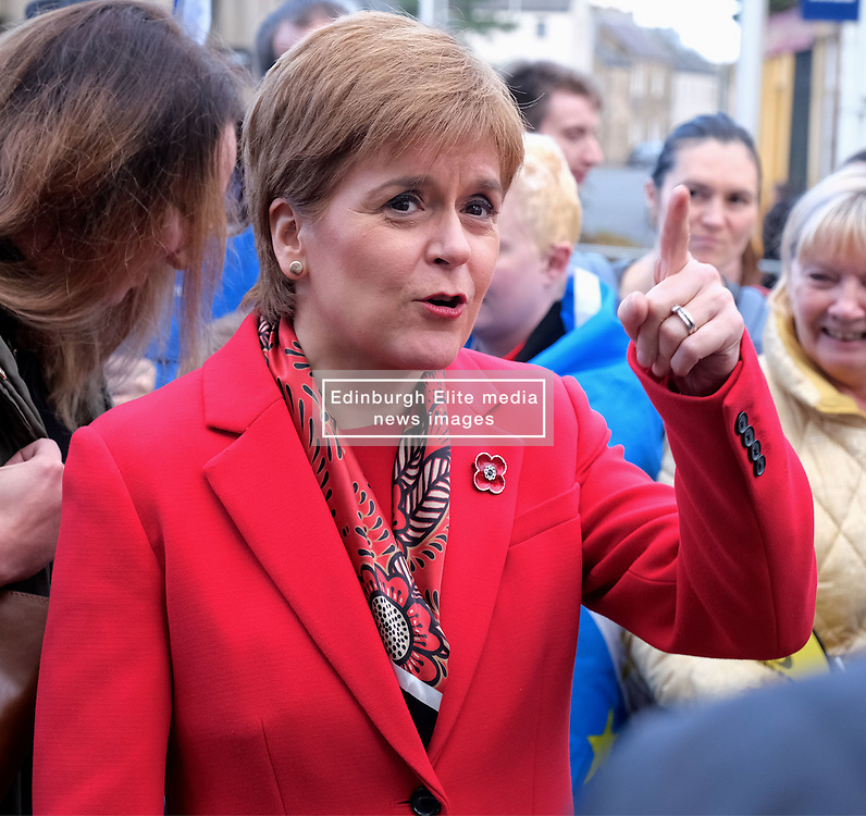 "Nicola Sturgeon, Tuesday 5th November 2019<br /> <br /> First Minister Nicola Sturgeon joined Owen Thompson, SNP candidate for Midlothian, to campaign in Dalkeith.<br /> <br /> Speaking ahead of the visit, Nicola Sturgeon said:<br /> <br /> ""Brexit is far from a done deal.<br /> <br /> ""Even if Boris Johnson was to get his deal passed, that would only be the beginning – not the end – of trade talks with the EU.<br /> <br /> ""We're already sick of Brexit – we don't want it to go on another ten years or more.<br /> <br /> ""So Scotland must not face a lost decade of Brexit chaos that we didn't vote for.<br /> <br /> ""A vote for the SNP is a vote to escape from Brexit and for Scotland's right to choose our own future."" <br /> <br /> Pictured: Nicola Sturgeon meets supporters and members of the community in Dalkeith<br /> <br /> Alex Todd 