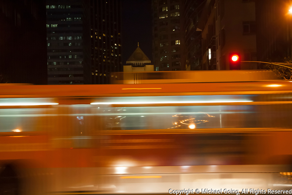 Motion Blur of RTD bus streaking by in downtown Los Angeles night time