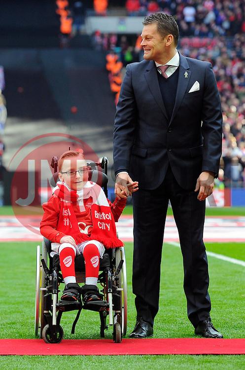 Bristol City manager, Steve Cotterill with Oskar Pycroft   - Photo mandatory by-line: Joe Meredith/JMP - Mobile: 07966 386802 - 22/03/2015 - SPORT - Football - London - Wembley Stadium - Bristol City v Walsall - Johnstone Paint Trophy Final