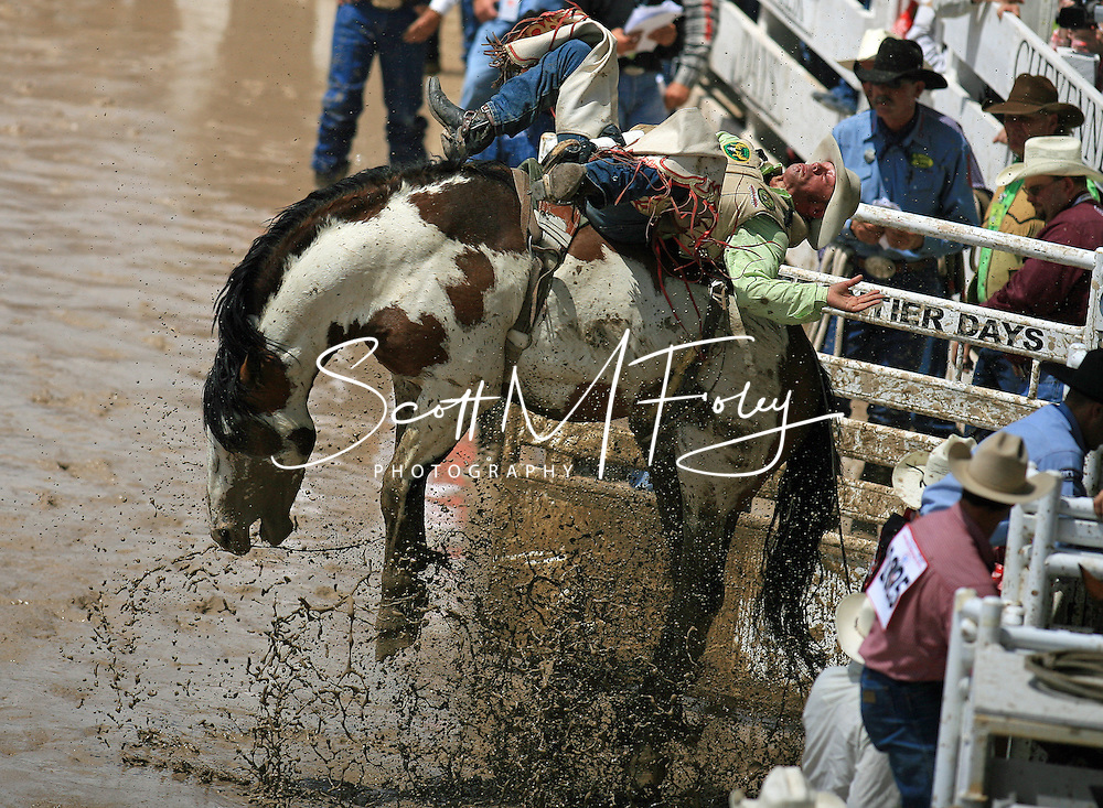 Bareback Rider Christopher J Harris scores an 87 riding 299 Lunatic Fringe BH, Championship Sunday, 29 July 2007, Cheyenne Frontier DaysChampionship Sunday, 29 July 2007, Cheyenne Frontier Days