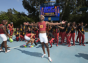 Rai Benjamin of Southern California poses during a collegiate dual meet against UCLA at Drake Stadium in Los Angeles, Sunday, April 29, 2018.