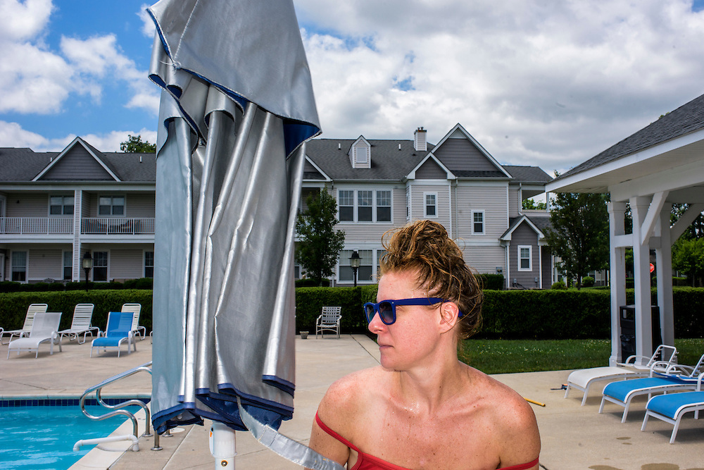 Egg Harbor City, New Jersey - June 21, 2015: <br /> Claire's twin sister Emily is life guarding at the Blue Heron Pines pool this summer. We visited for an hour and change. Before we got there, Emily rescued a dragonfly from the pool. At first the dragonfly looked dead, but, once out of the water, she (Emily assigned a gender :)) started moving, she wanted to do what she could to ensure it's survival. So, she created a healing haven from a tampon box. <br /> CREDIT: Matt Roth