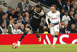 April 30, 2019 - London, England, United Kingdom - L-R Noussair Mazraoul  of Ajax and Tottenham Hotspur's Christian Eriksen.during UEFA Championship League Semi- Final 1st Leg between Tottenham Hotspur  and Ajax at Tottenham Hotspur Stadium , London, UK on 30 Apr 2019. (Credit Image: © Action Foto Sport/NurPhoto via ZUMA Press)