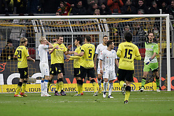 "28.01.2012, Signal Iduna Park, Dortmund, GER, 1. FBL, Borussia Dortmund vs 1899 Hoffenheim, 19. Spieltag, im Bild Jubel bei Dortmunds Spielern nach dem Tor zum 2:0, waehrend die Hoffenheimer dreinblicken, Aktion // during the football match of the german ""Bundesliga"", 19th round, between GER, 1. FBL, Borussia Dortmund and 1899 Hoffenheim, at the Signal Iduna Park, Dortmund, Germany on 2012/01/28. EXPA Pictures © 2012, PhotoCredit: EXPA/ Eibner/ Oliver Vogler..***** ATTENTION - OUT OF GER *****"