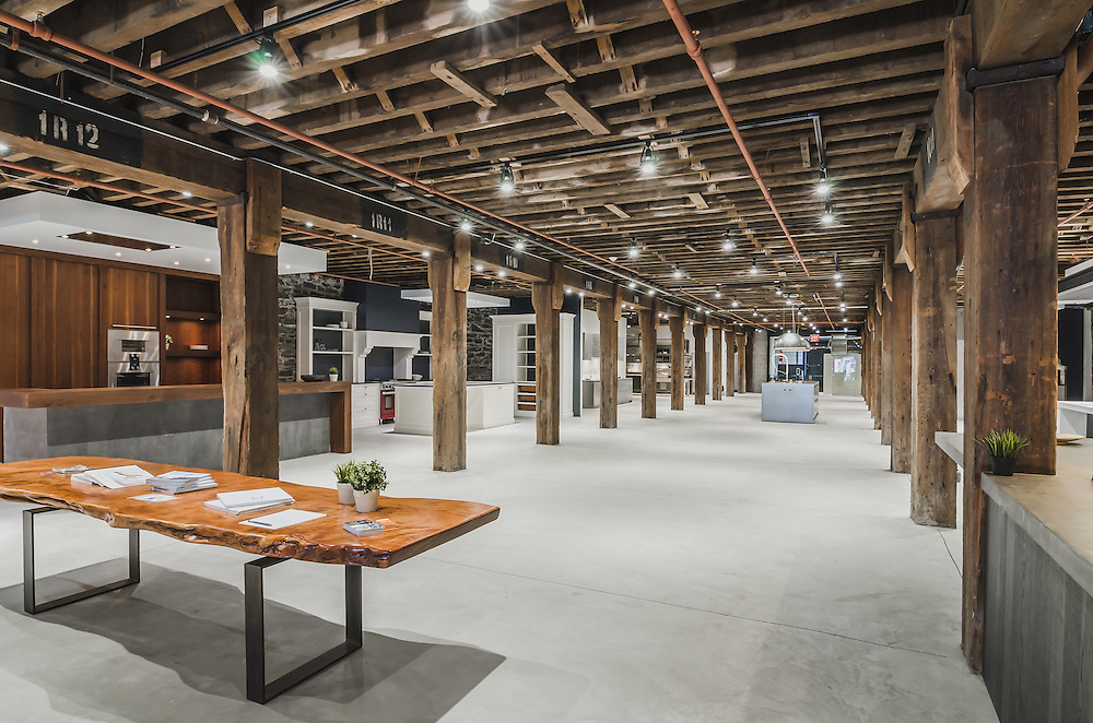 Interior and architectural photographs of Dutch Kitchen Center in Red Hook Brooklyn New York.