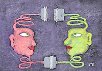 Color illustration of 2 heads connected with cables.  One head is green, the other pink.  One of the connections has been broken.  Fantasy symbolic representation.