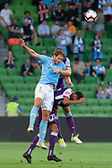 MELBOURNE, VIC - JANUARY 19: Melbourne City midfielder Rostyn Griffiths (7) competes for a header at the Hyundai A-League Round 14 soccer match between Melbourne City FC and Perth Glory at AAMI Park in VIC, Australia 19th January 2019. Image by (Speed Media/Icon Sportswire)