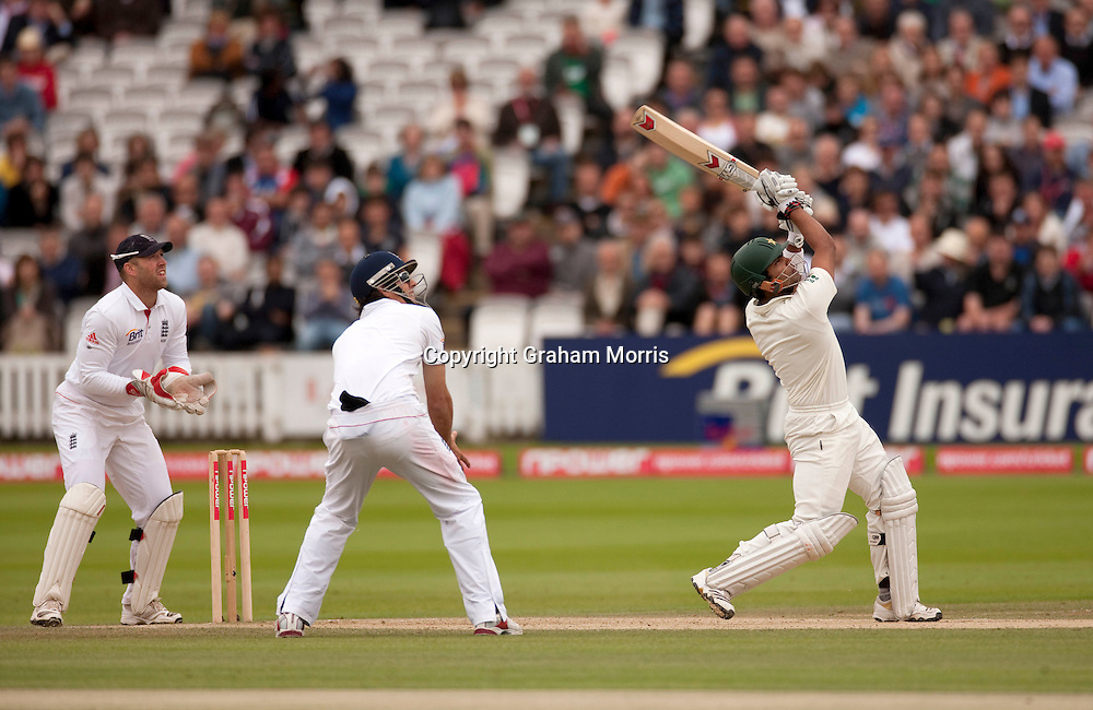 Umar Akmal hits Graeme Swann for six past the pavilion during the final npower Test Match between England and Pakistan at Lord's.  Photo: Graham Morris (Tel: +44(0)20 8969 4192 Email: sales@cricketpix.com) 29/08/10
