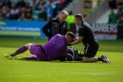 Alloa Athletic's keeper Neil Parry  injured after the collision with Hibernian's Christian Doidge for their first goal. Hibernian 2 v 0 Alloa Athletic, Betfred Cup game played Saturday 20th July at Easter Road, Edinburgh.