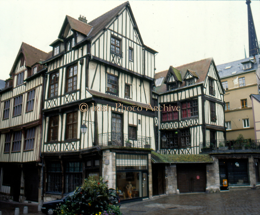 France, Normandy.  Rouen, half-timbered houses.