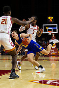 South Dakota State Jackrabbits guard Noah Freidel (11) drives towards the basket in the first half against the Southern California Trojans during an NCAA basketball game, Tuesday, Nov. 12, 2019, in Los Angeles. USC defeated South Dakota State 84-66. (Brandon Sloter/Image of Sport)