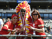 Sep 15, 2019; Oakland, CA, USA; Kansas City Chiefs fans pose during the game against the Oakland Raiders at Oakland-Alameda County Coliseum. The Chiefs defeated the Raiders 28-10..(Gerome Wright/Image of Sport)