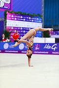 Averina Dina during final at ball in Pesaro World Cup at Adriatic Arena on 15 April 2018.Dina is the 2017 and 2018 World All-around Champion. She was born on August 13, 1998 in Zavolzhye, Russia. Dina has a twin sister ,Arina is also herself a great gymnast.