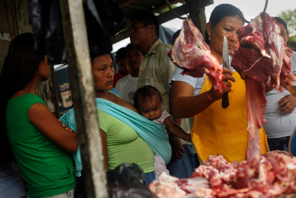 A butcher cuts up meat to sell at the weekly market in San Pedro Sumino in August of 2009.   Meet is consumed only a few days a week in most Kichwa families because of its cost.