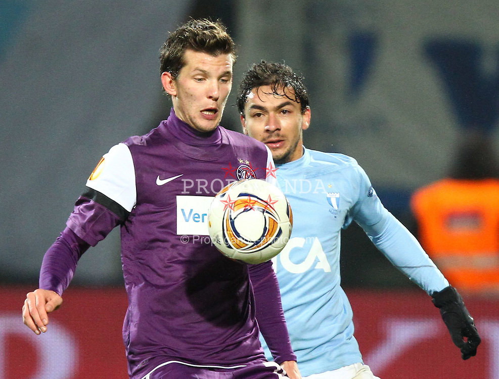 15.12.2011, Generali Arena, Wien, AUT, UEFA EL, Gruppe G, FK Austria Wien (AUT) vs Malmoe FF (SWE), im Bild Alexander Gorgon, (FK Austria Wien, #20) und Ricardinho, (Malmoe FF, #20) // during the football match of UEFA Europa League, Group F, between FK Austria Wien (AUT) and Malmoe FF (SWE) at Generali Arena, Wien, Austria on 15/12/2011. EXPA Pictures © 2011, PhotoCredit: EXPA/ T. Haumer