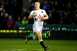 Arron Reed of England U20 runs the length of the field to score a try - Mandatory by-line: Robbie Stephenson/JMP - 15/03/2019 - RUGBY - Franklin's Gardens - Northampton, England - England U20 v Scotland U20 - Six Nations U20