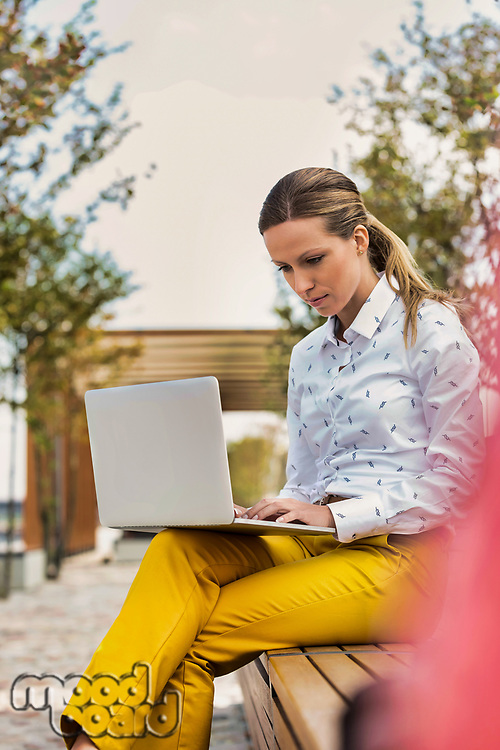 Portrait of young attractive businesswoman sitting while working on her laptop and sitting on bench