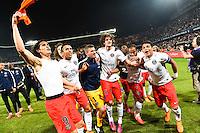 Joie PSG Champion - Edinson CAVANI / MARQUINHOS / Nicolas DOUCHEZ / Thiago SILVA - 16.05.2015 - Montpellier / Paris Saint Germain - 37eme journée de Ligue 1<br />Photo : Alexandre Dimou / Icon Sport