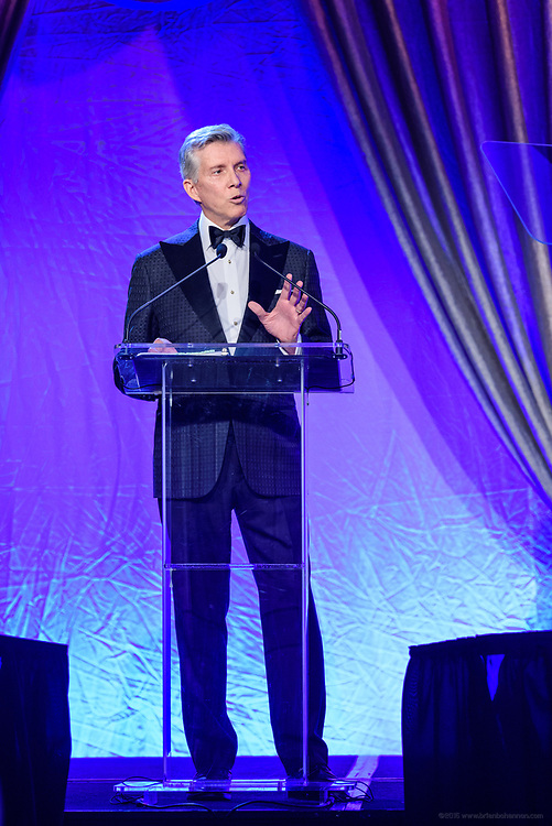 Emcee Michael Buffer, professional ring and sports announcer, at the fifth annual Muhammad Ali Humanitarian Awards Saturday, Sept. 23, 2017, at the Marriott Louisville Downtown in Louisville, Ky. (Photo by Brian Bohannon/Invision for Muhammad Ali Center/AP Images)