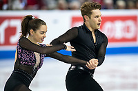 KELOWNA, BC - OCTOBER 25: Canadian figure skaters Evelyn Walsh and Trennt Michaud compete in the pairs short program of Skate Canada International held at Prospera Place on October 25, 2019 in Kelowna, Canada. (Photo by Marissa Baecker/Shoot the Breeze)